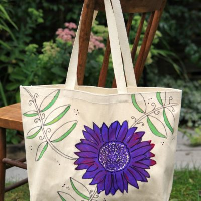 Make a Bright & Happy Hand-Painted Market Tote Bag (That's Washable!)