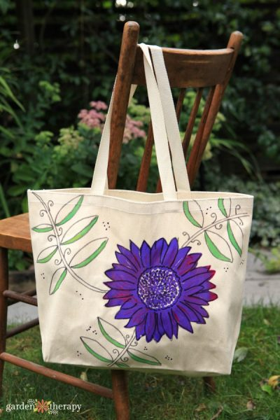 Hand Painted Purple Sunflower Canvas reusable tote bag