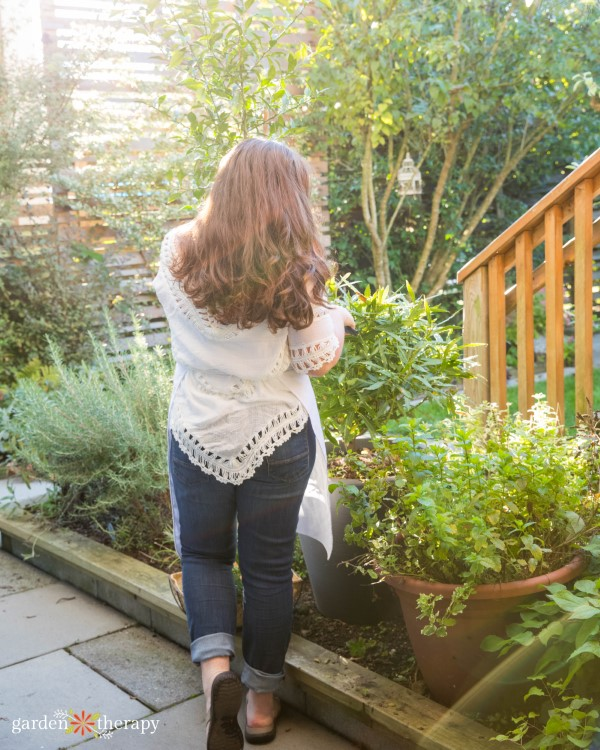 Woman engaging in horticultural therapy for depression