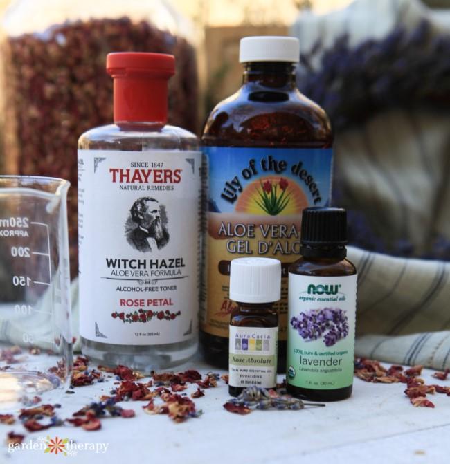 Ingredients for Rose Lavender Spray Deodorant Recipe