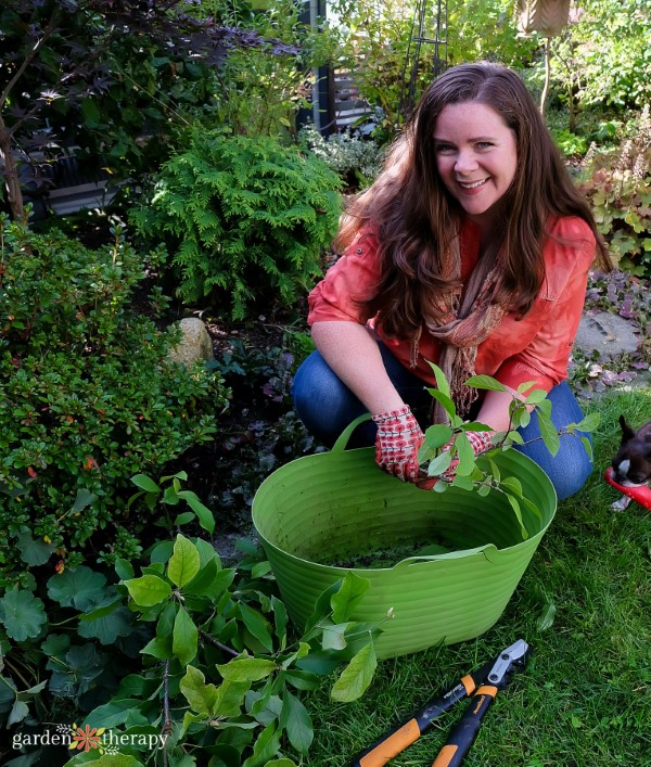 Woman gardening as part of horticultural therapy