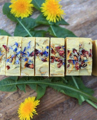 Cut wildflower soap