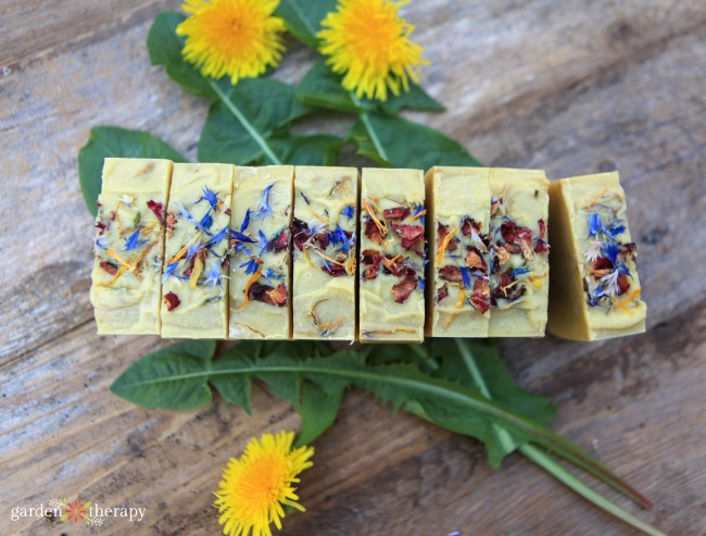 Cut wildflower soap