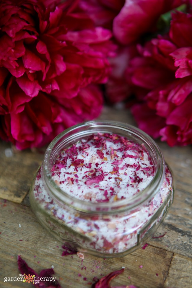 Bath salts made with pink dried peony petals