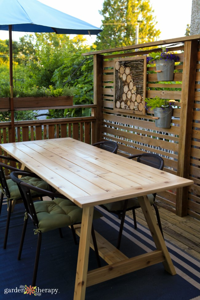 Cedar Outdoor Dining Table without planter insert