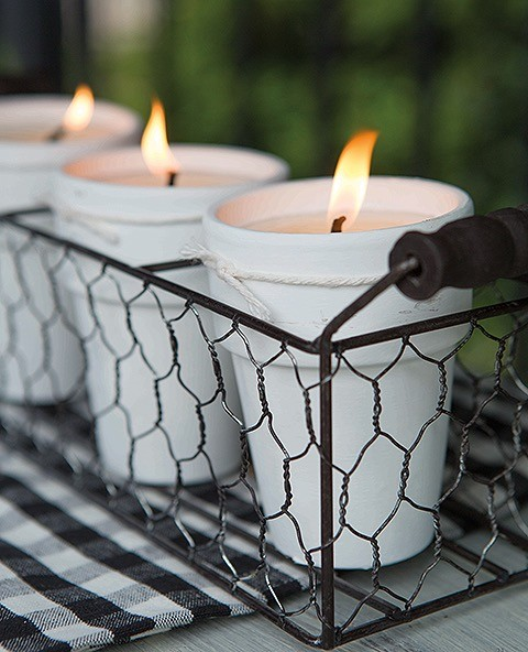Flower Pot Citronella Candles
