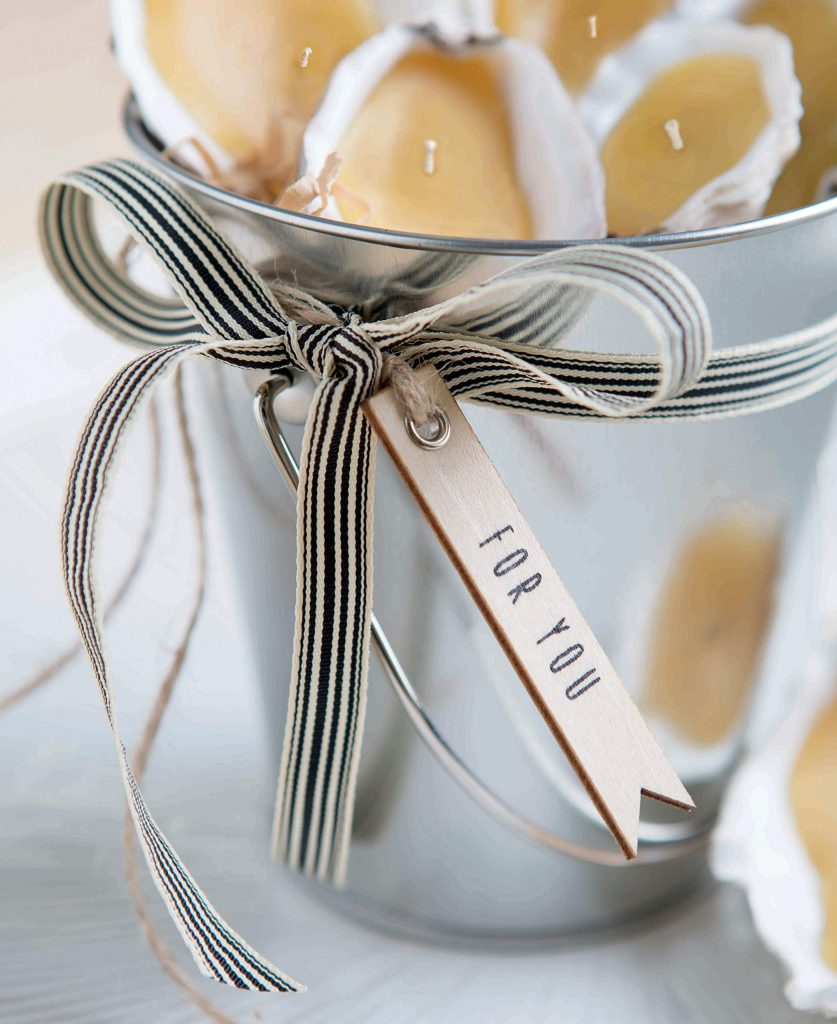 Seashell Tea Lights Wrapped for Gifts