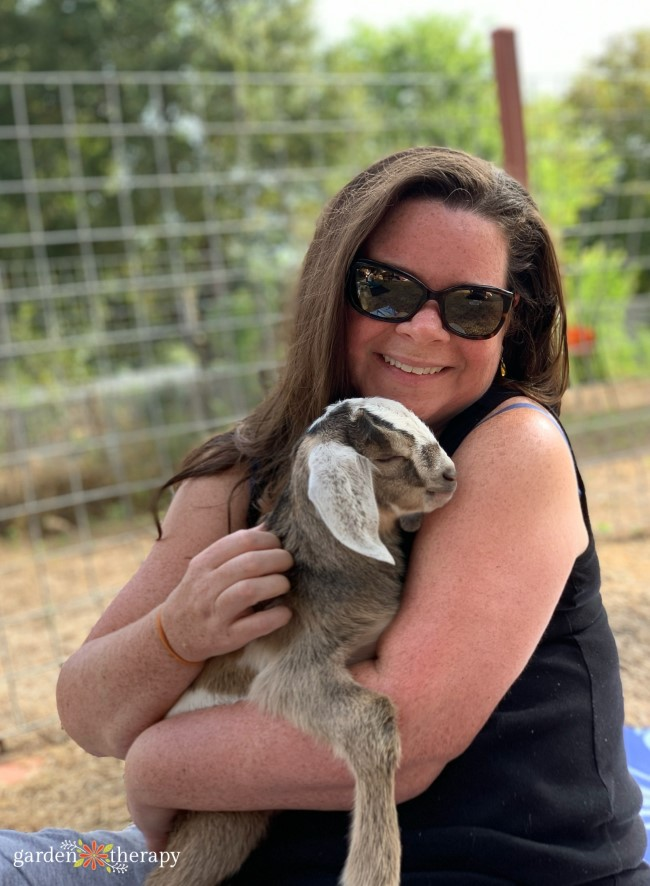 Stephanie and baby goat