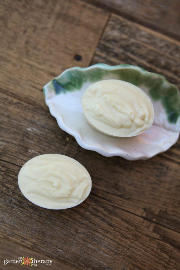 Unscented, natural homemade soap in a dish.