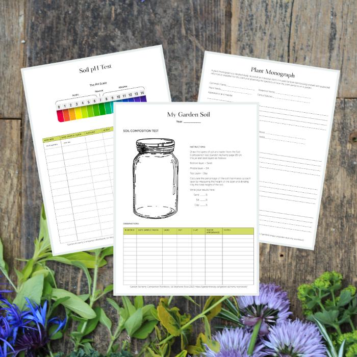 Garden Alchemy Workbook Printable Pages on board