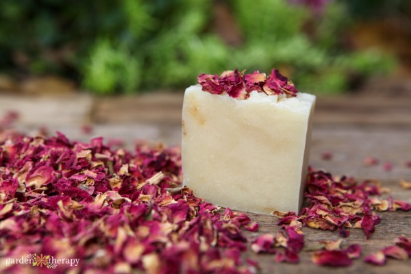 Chunk of natural plant based soap surrounded by dried rose petals