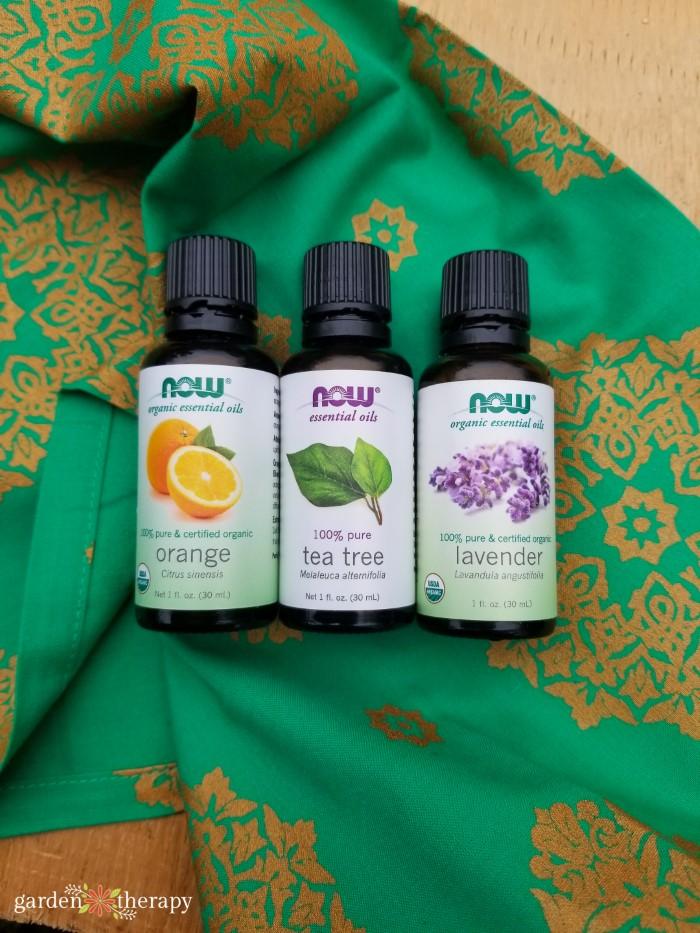 Tea tree, lavender, and sweet orange essential oils for DIY hand sanitizer