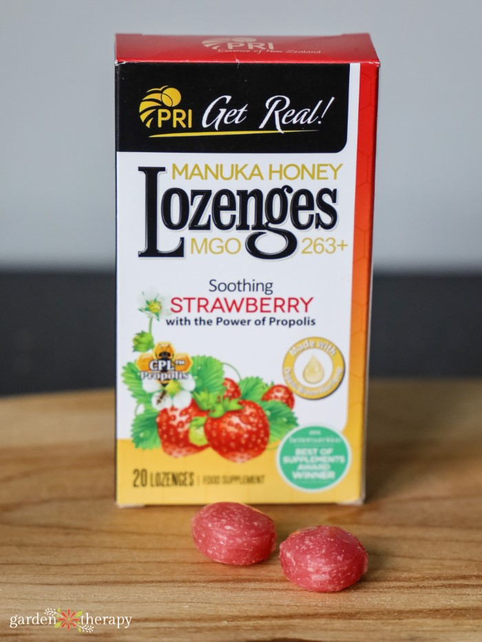 box of PRI manuka honey strawberry lozenges