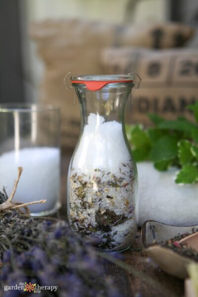Oatmeal bath ingredients in a glass jar