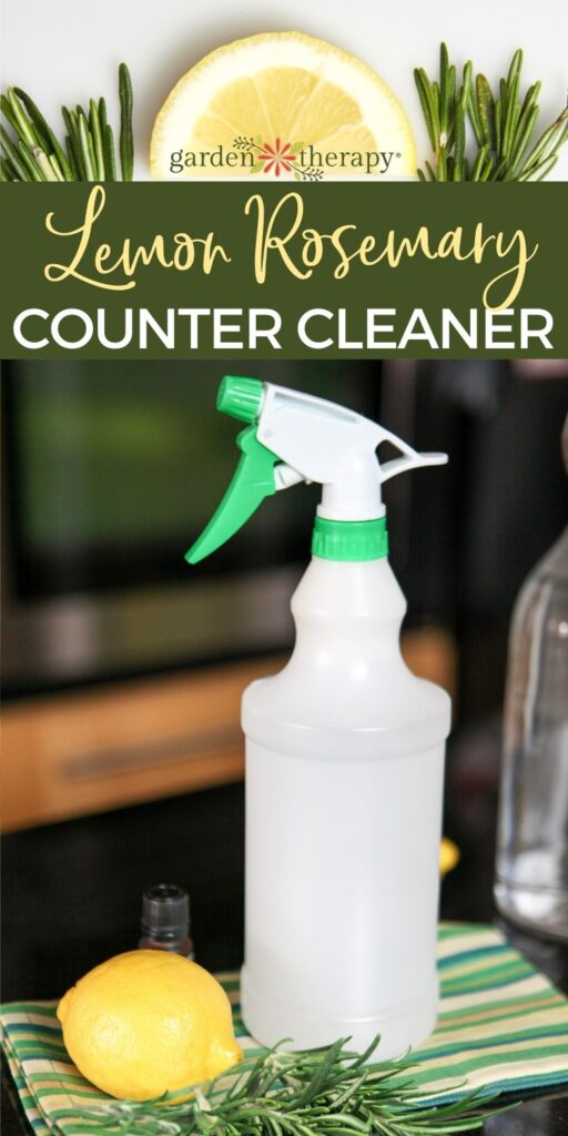 pinterest graphic for lemon rosemary diy granite cleaner