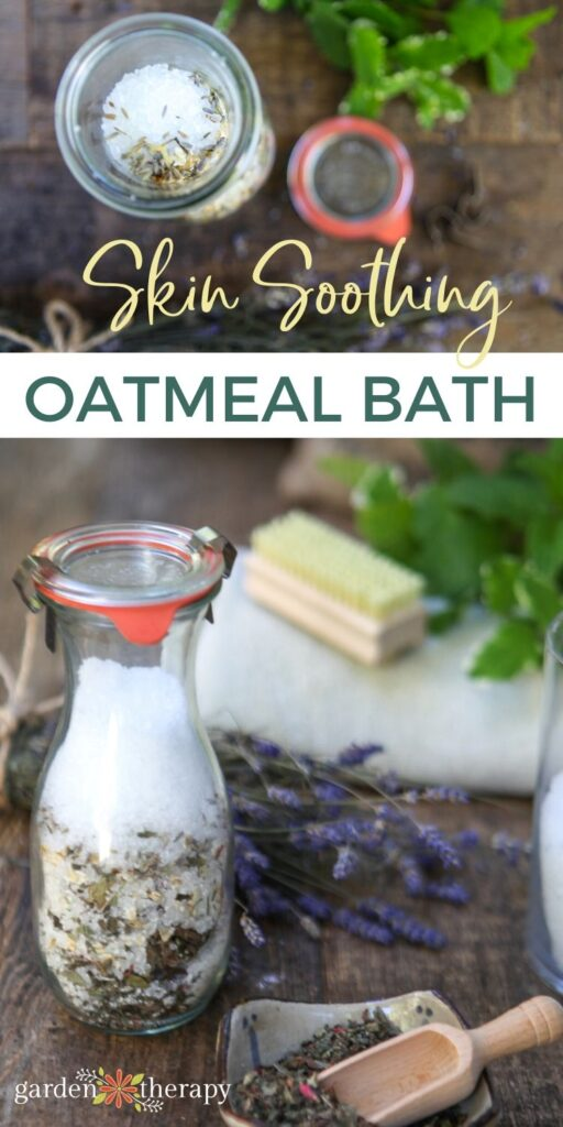 Soothing oatmeal bath being mixed in a jar