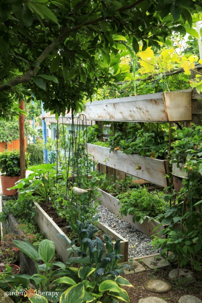 Vertical garden with three stacked raised beds