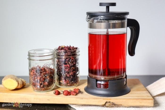 Bodum on a counter with red hibiscus tea in it and jars of dried hibiscus leaves to the side