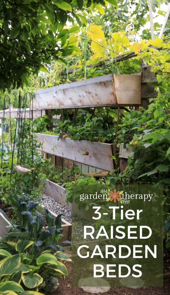 vertical garden with three raised beds stacked together