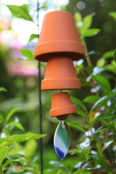 hanging clay pot wind chime