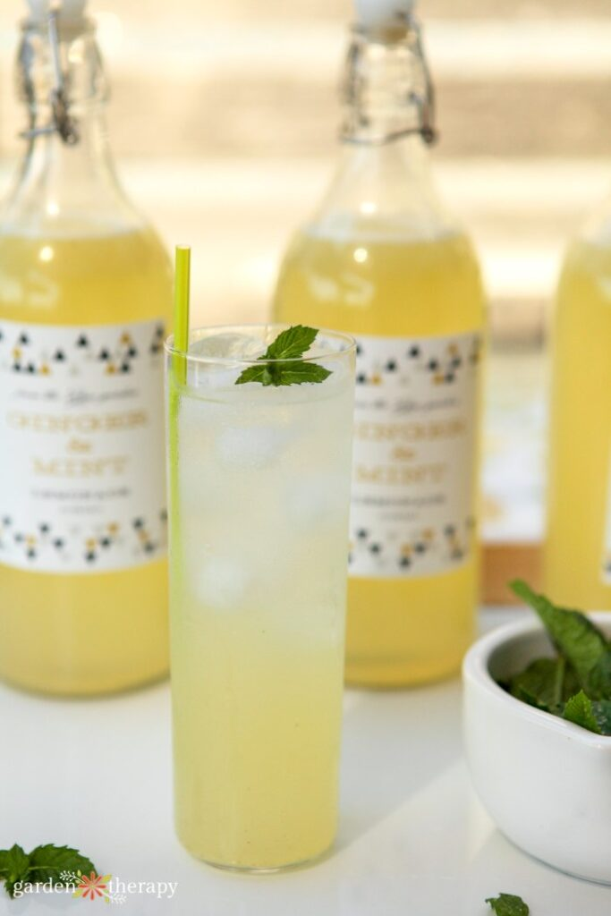 a glass of ginger mint lemonade and ice in front of bottles of lemonade