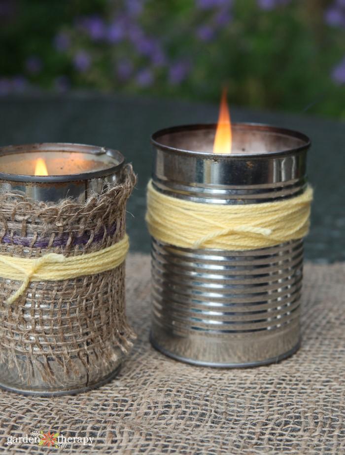 burning DIY citronella candles