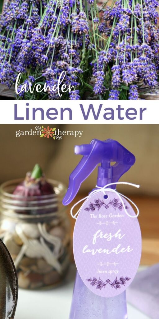 Lavender linen water in a spray bottle next to dried lavender