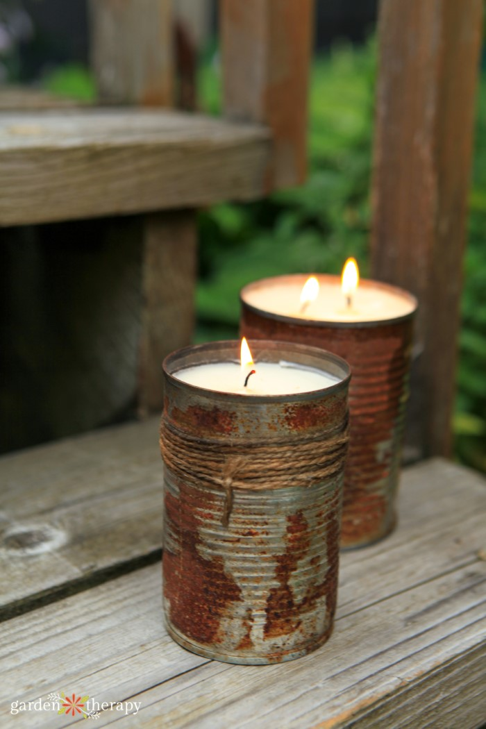 diy citronella candles in old cans