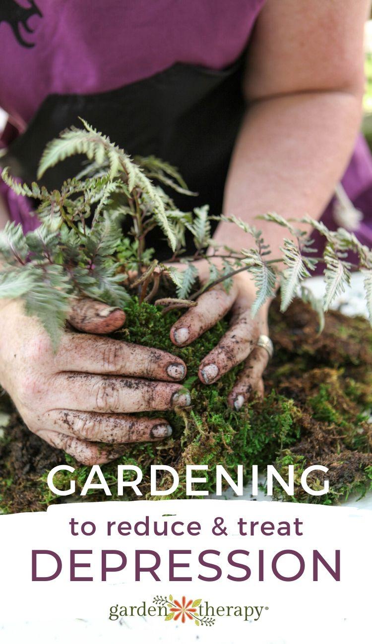 Woman gardening for depression