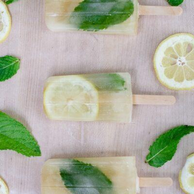 Lemon and mint mojito popsicles