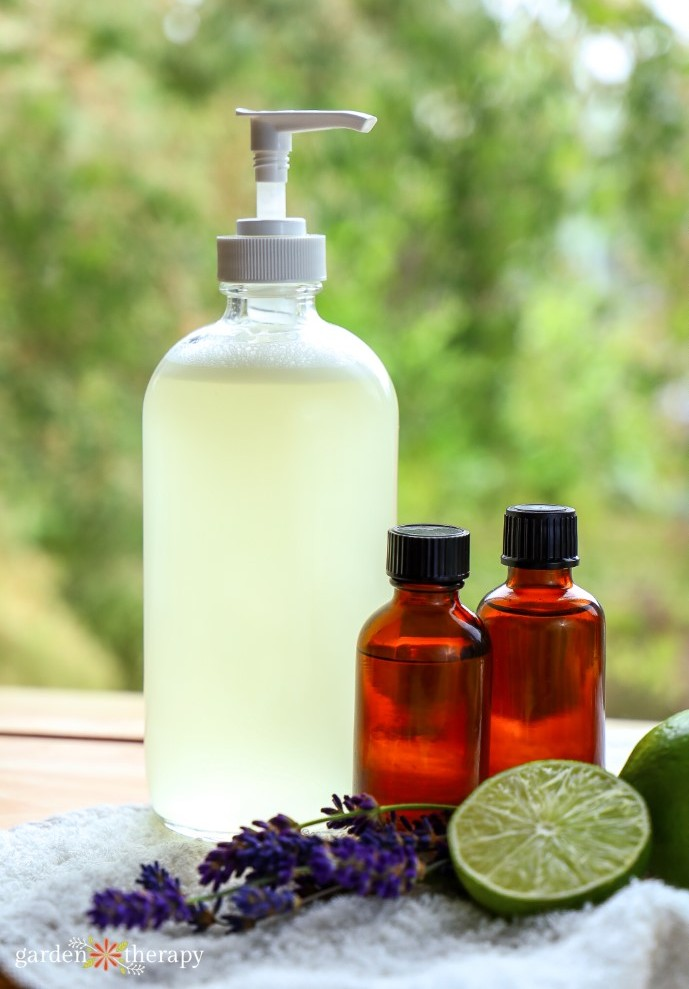 Bottle of DIY aloe vera soap with lime and lavender essential oils