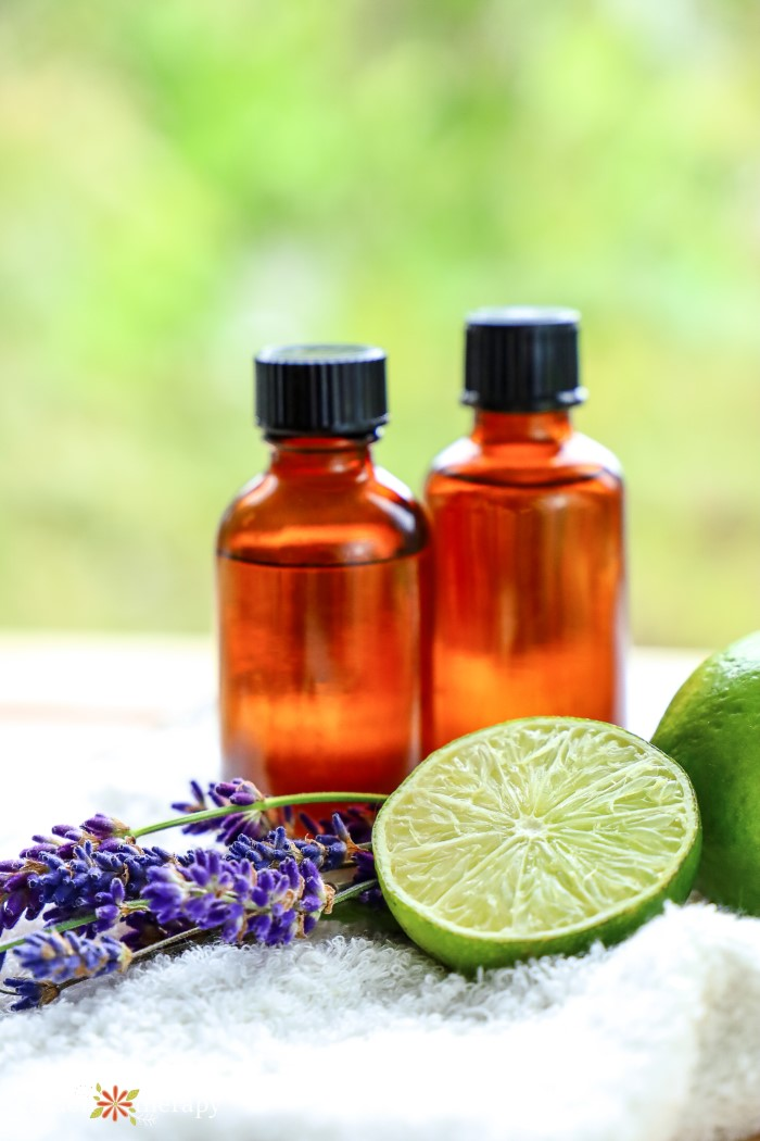 Lime and lavender essential oil bottles