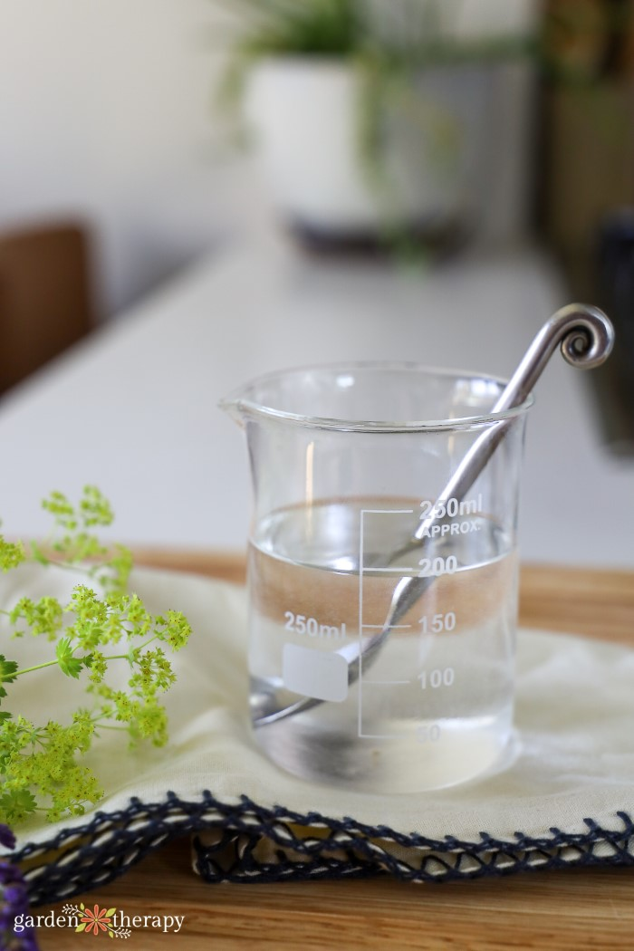Mixing together aloe vera and water in a glass beaker