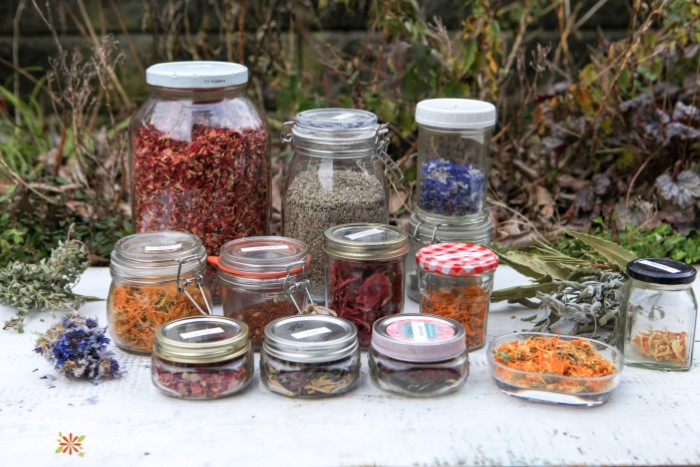 Jars of colorful dried flower petals