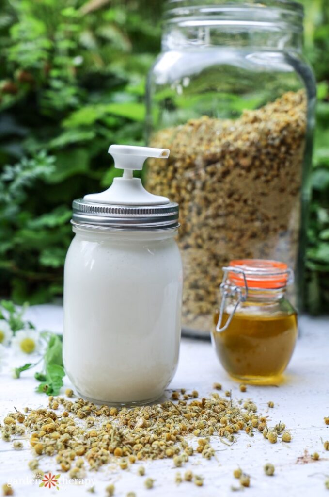 Homemade magnesium lotion with dried chamomile