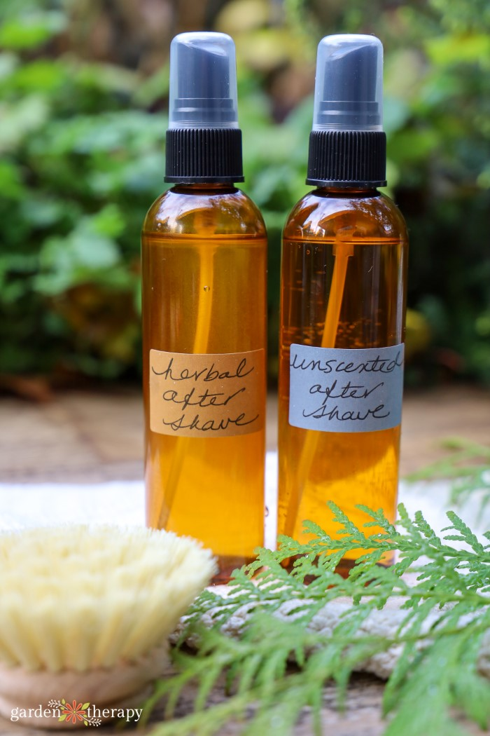 Amber glass bottles of herbal after shave and unscented after shave