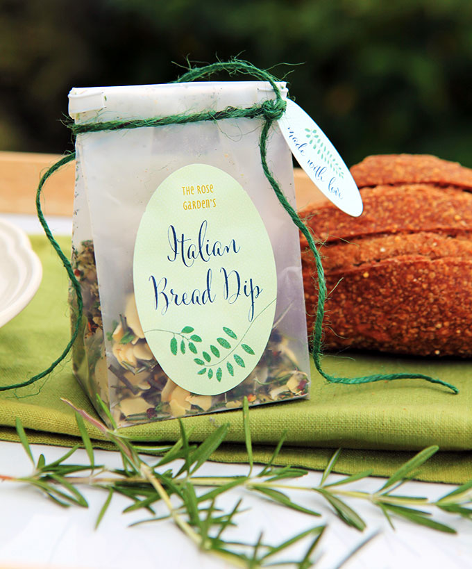 Italian bread dip mix in a wax bag as last minute diy christmas gifts