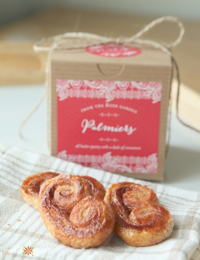 homemade palmiers with a box