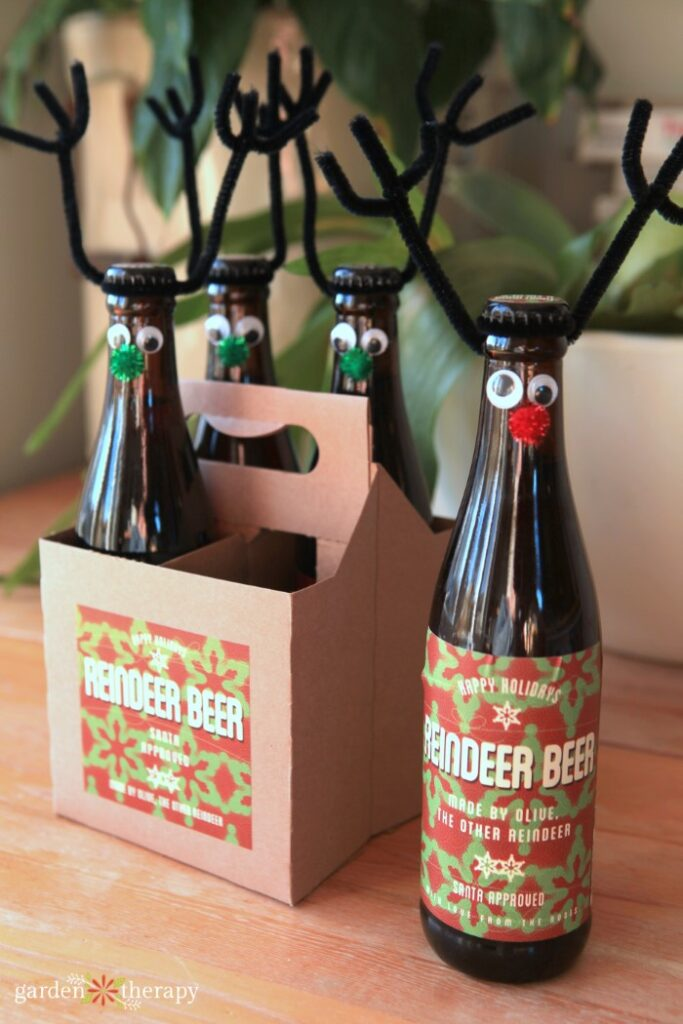 Reindeer beers - glass beers decorated with antlers, eyes and nose
