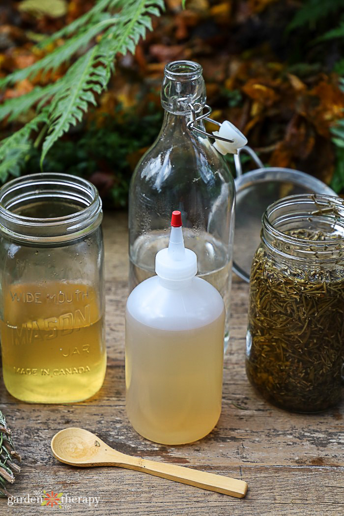 plastic squeeze bottle filled with a homemade apple cider vinegar hair rinse made with infused herbs