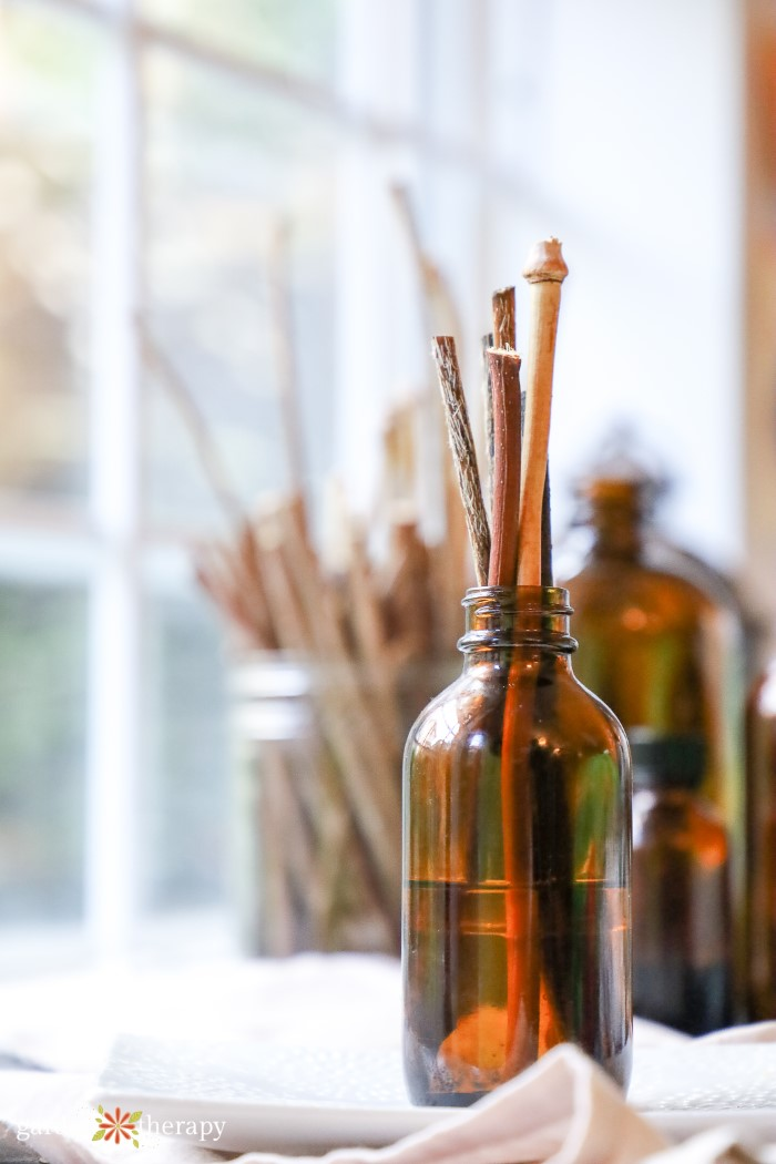 DIY reed diffuser in an amber jar in front of a window