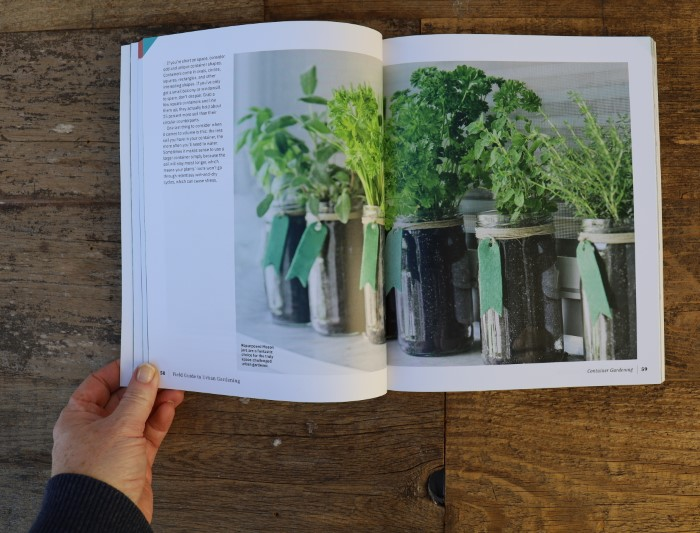 Page from Field Guide to Epic Gardening showing herbs growing in mason jars