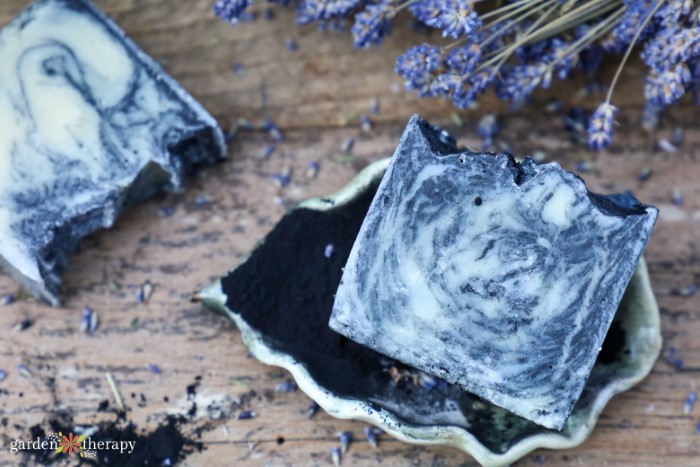 swirled charcoal soap for maskne with lavender
