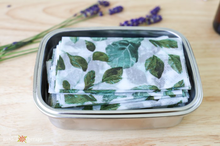 homemade disinfectant wipes in travel case