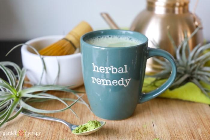 Mug of matcha green tea