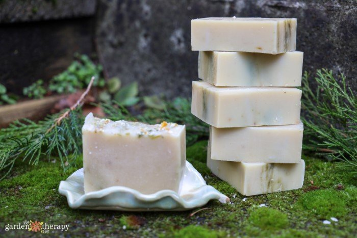 cedarwood and lime soap stacked together