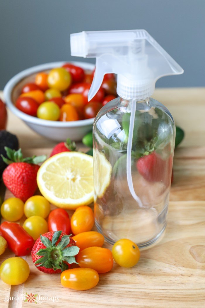 vegetable wash spray with veggies
